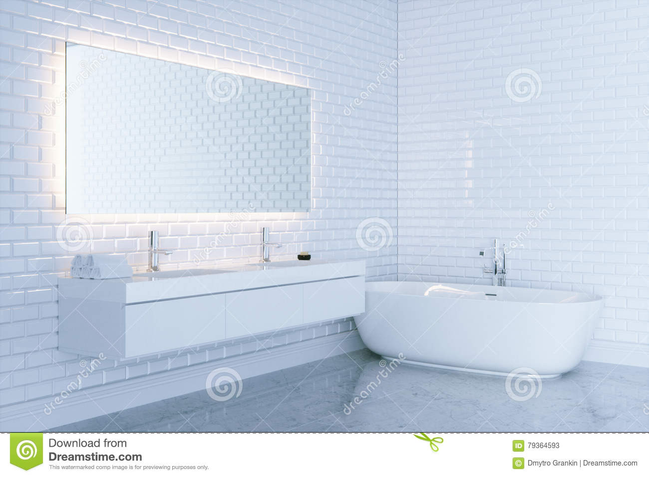 New White Bathroom With Big Ceramic Bathtub View 3 . 3d Render Stock ...