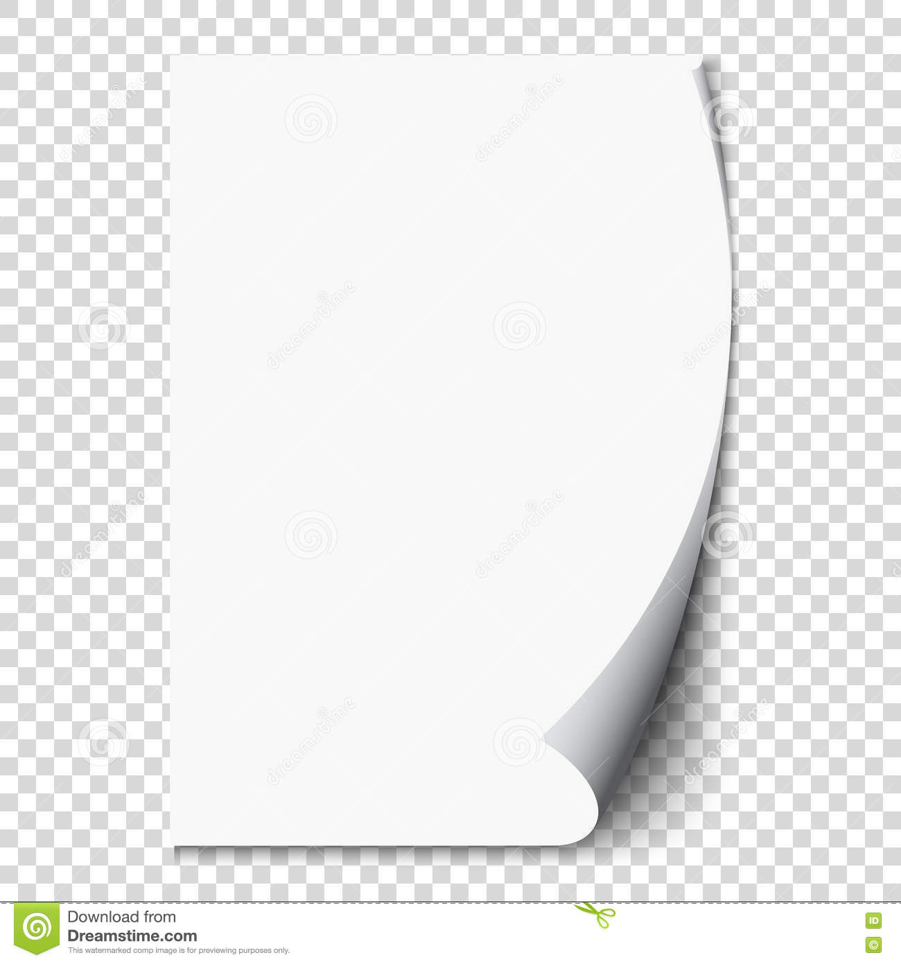 new white page curl on blank sheet paper realistic empty folded