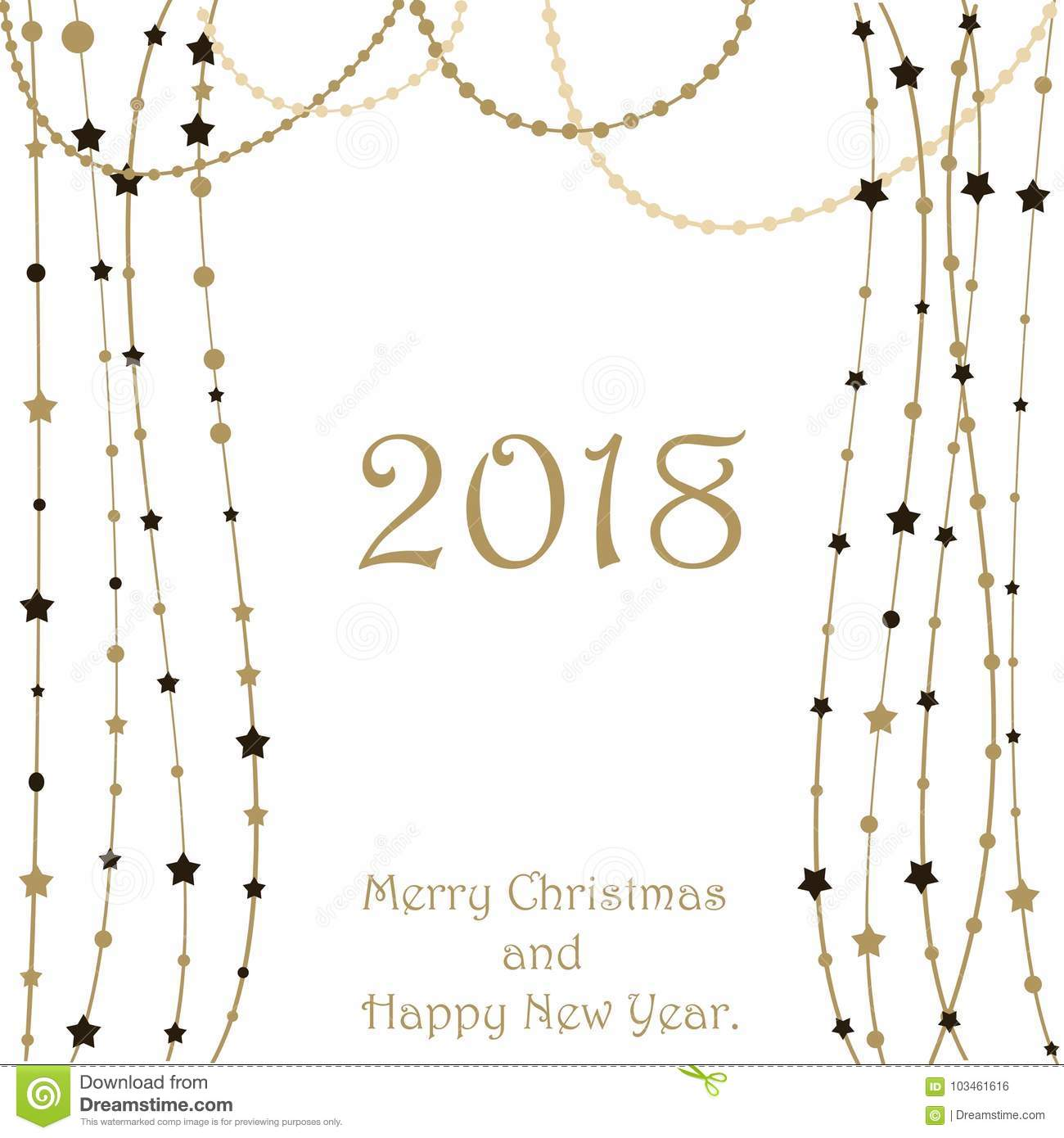 Happy New Year 2018 Greeting Card. Christmas Snow Background. Stock ...