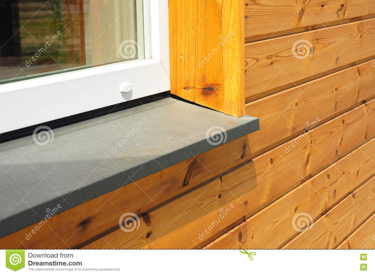 New window sill repair with house facade wooden wall exterior stock image image 74551175 for Repairing concrete window sills exterior