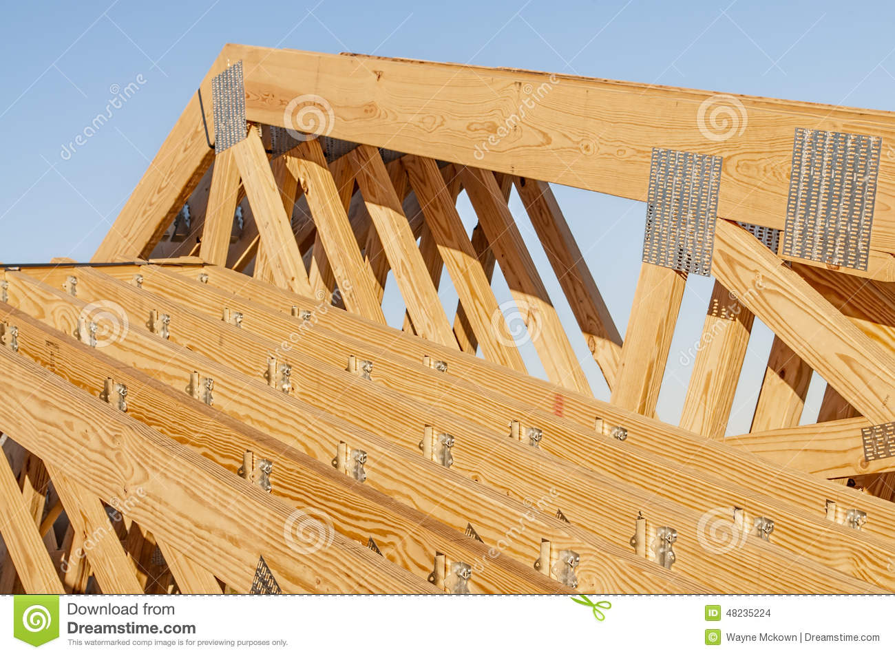 New Wood Pine Trusses With Metal Joist Hangers Attached ...