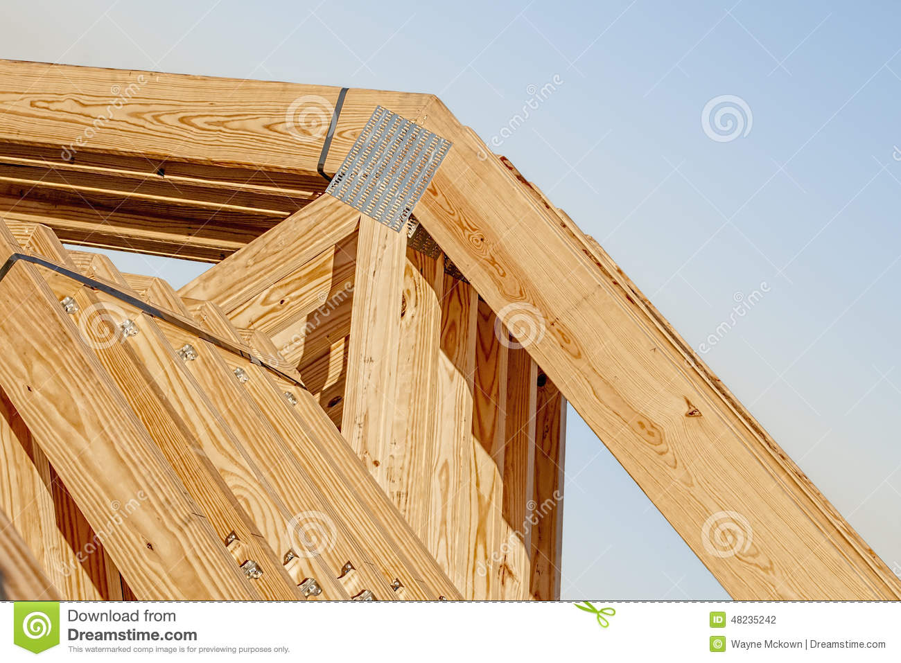 New Wood Pine Trusses With Metal Joist Hangers Attached