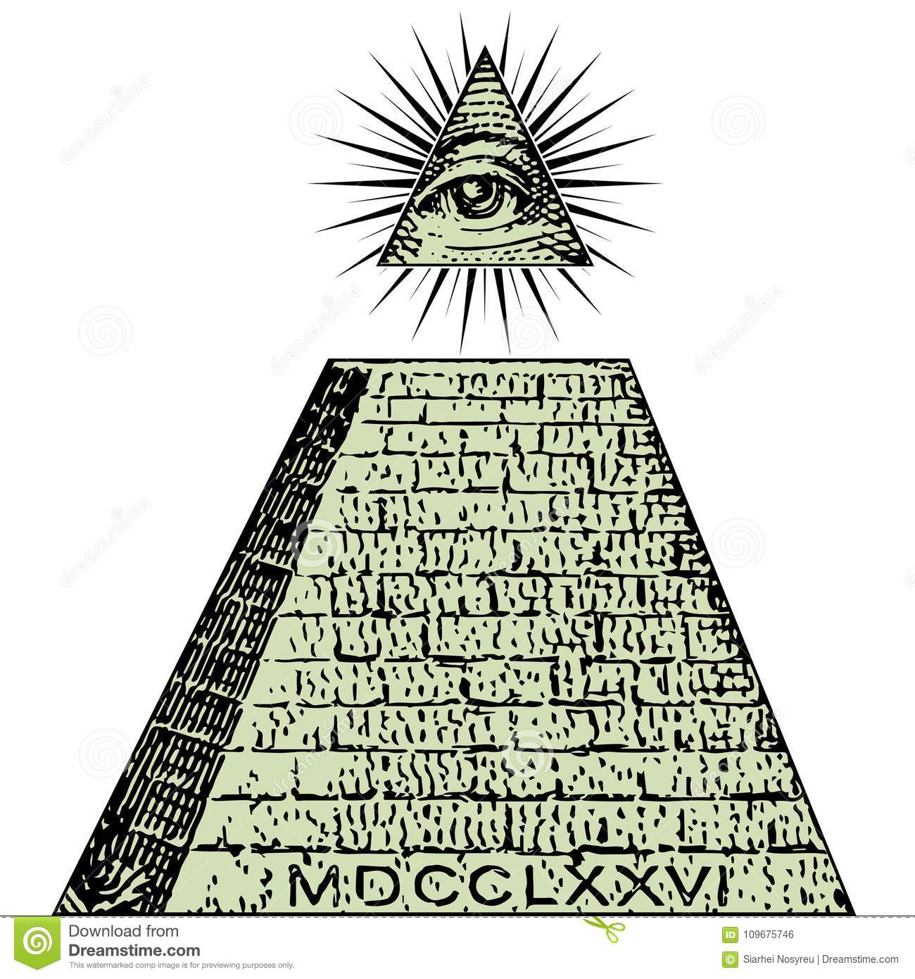 New World Order  One Dollar, Pyramid  Illuminati Symbols Bill