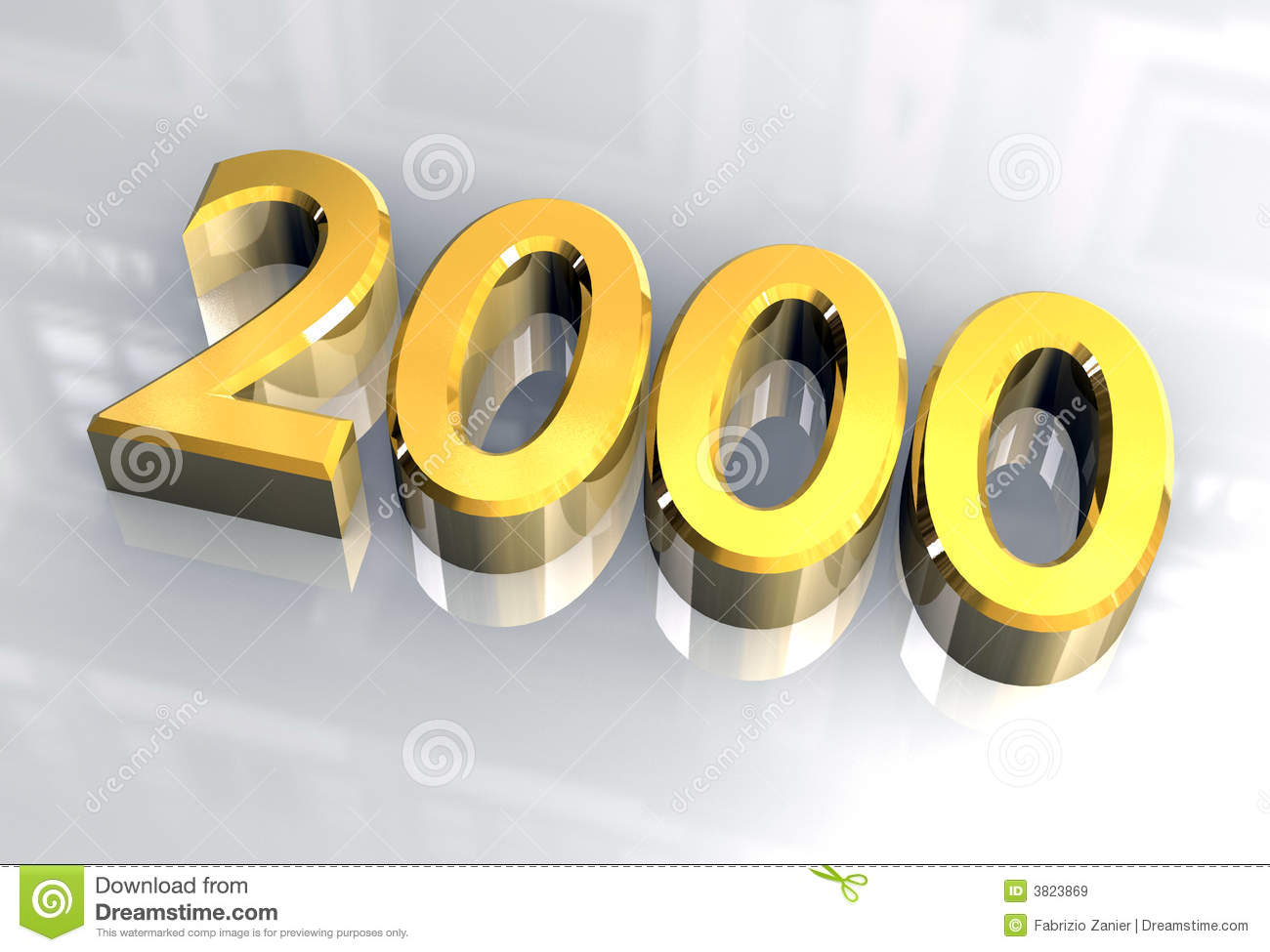 New year 2000 in gold (3D)