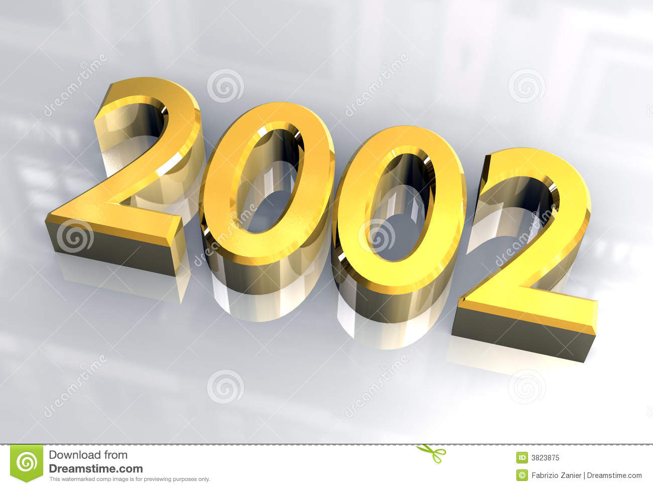 New year 2002 in gold (3D