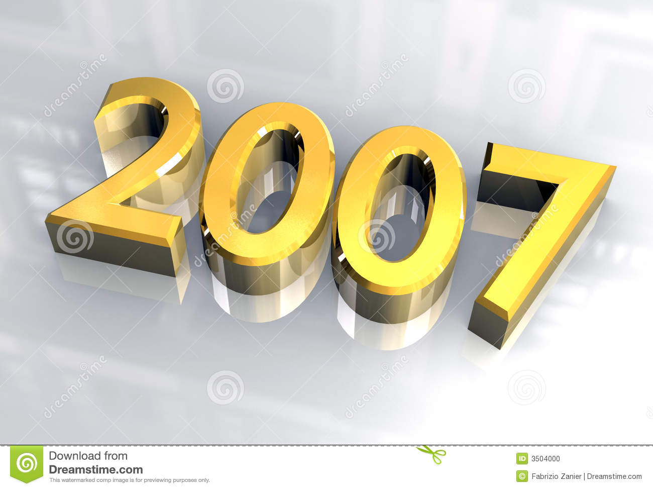 New Year 2007 In Gold  3d  Stock Illustration