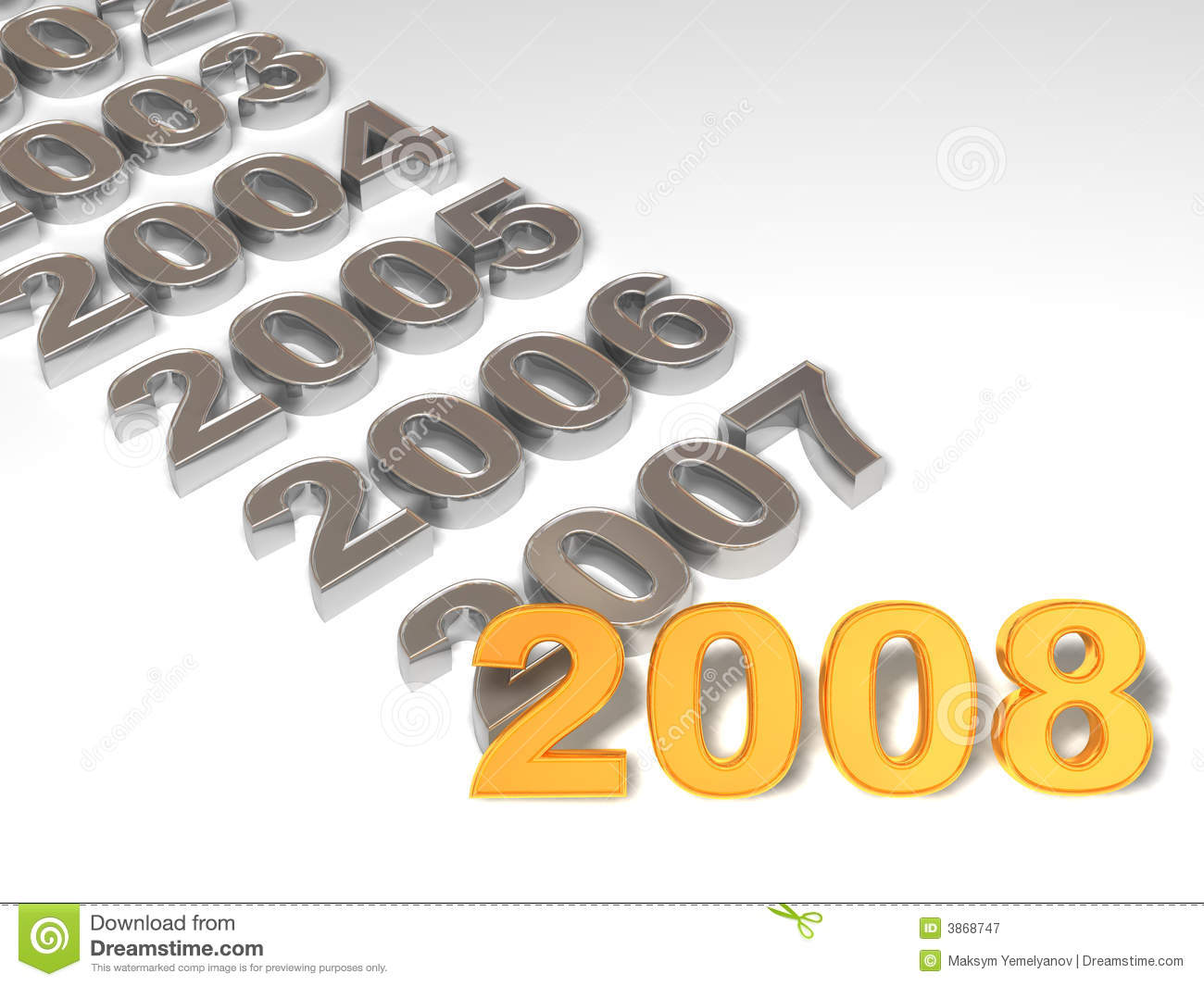 New Year. 2008. 3d