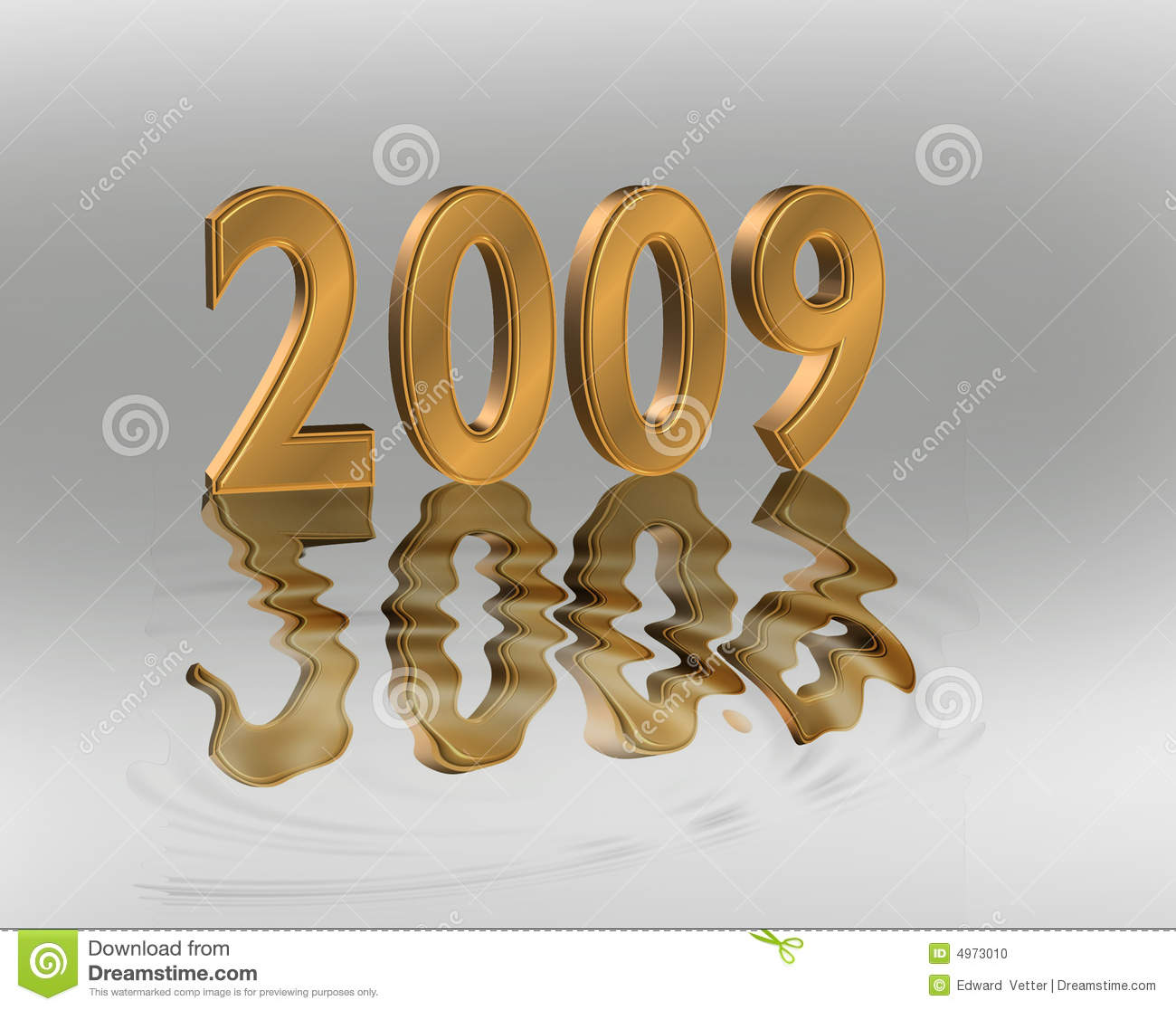 2009: New Year 2009 3D Gold Numbers Stock Photo