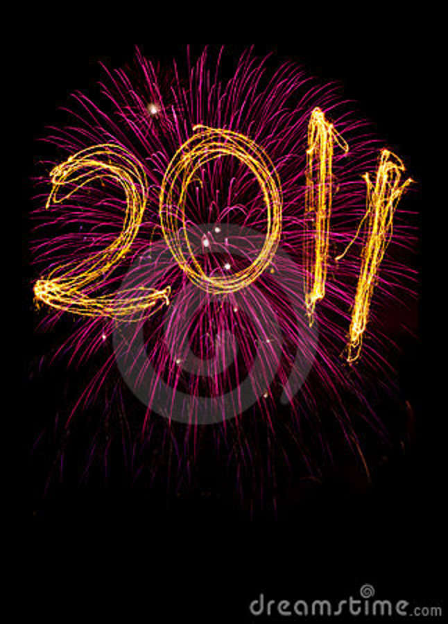 New Year Sparklers And Fireworks Royalty Free Stock Image