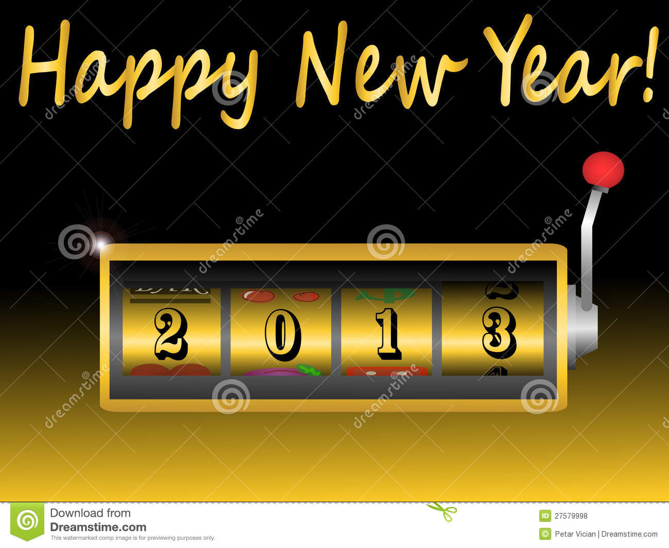 Royalty Free Stock Photos: New year 2013 in slot machine
