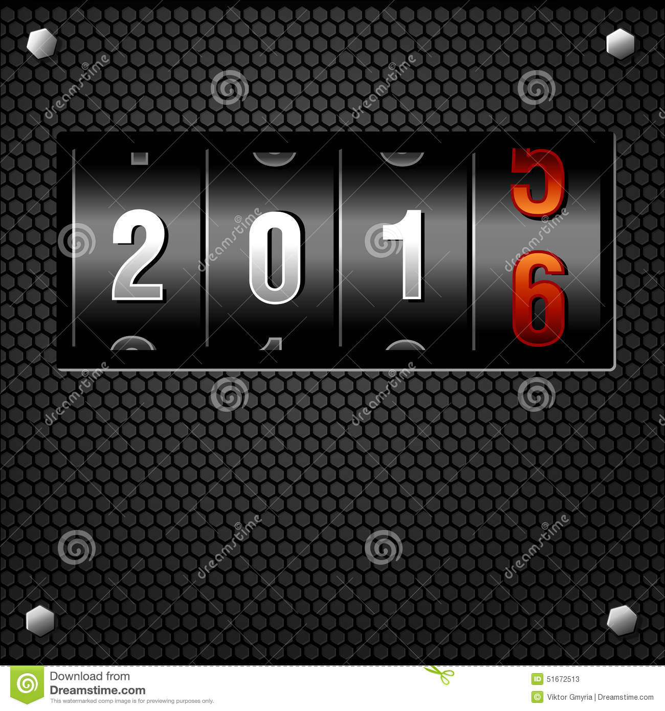 2016 New Year Analog Counter on metal plate detailed vector.