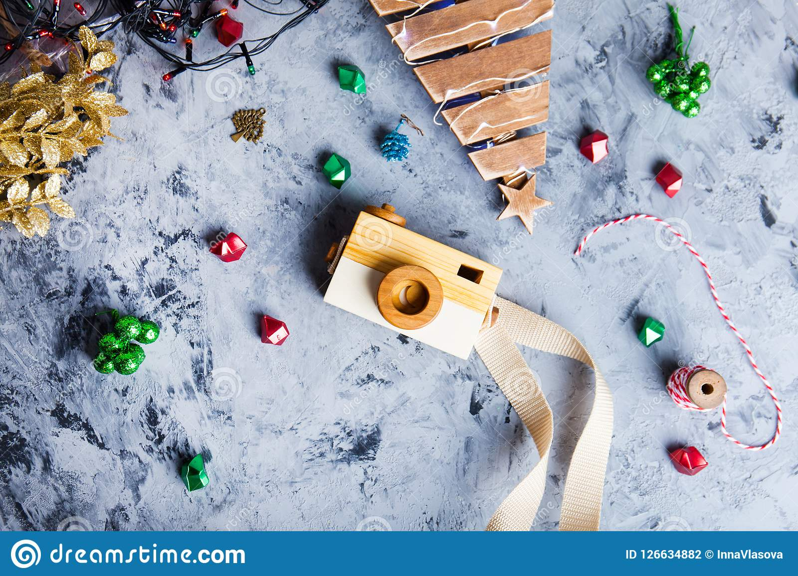 New Year 2019 Background With Camera, Christmas Toys. Flat Lay, Top View Of New Year 2018 ...