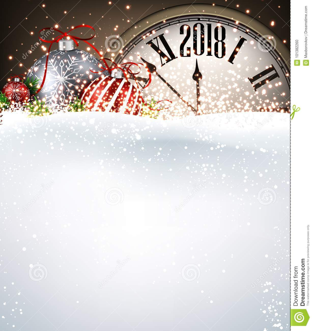 2018 New Year Background With Clock. Stock Vector - Illustration of ...