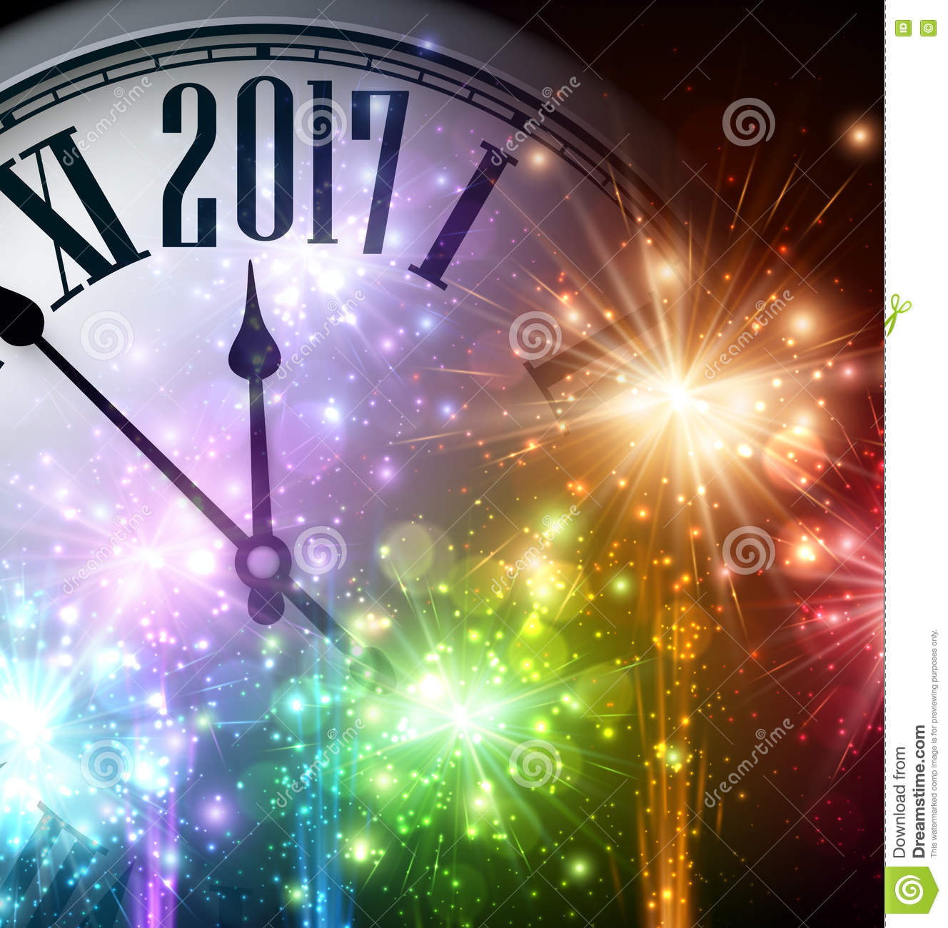 2017 new year background with clock