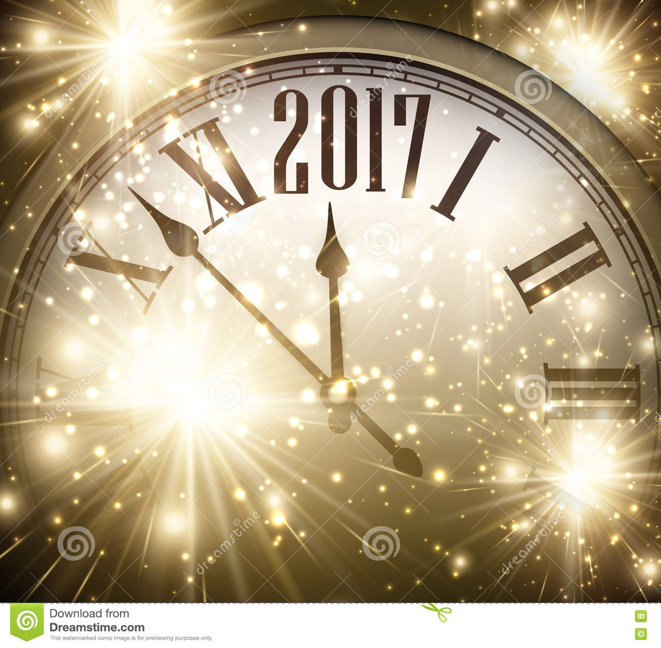 2017 New Year Background With Clock Stock Vector