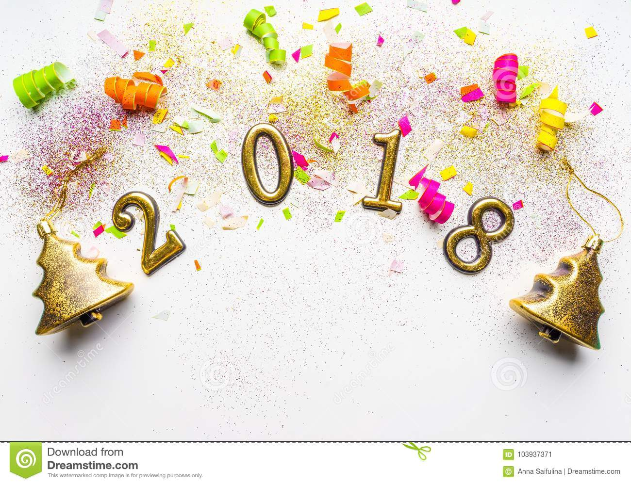 download 2018 new year background with confetti sparkles serpentine on white top view