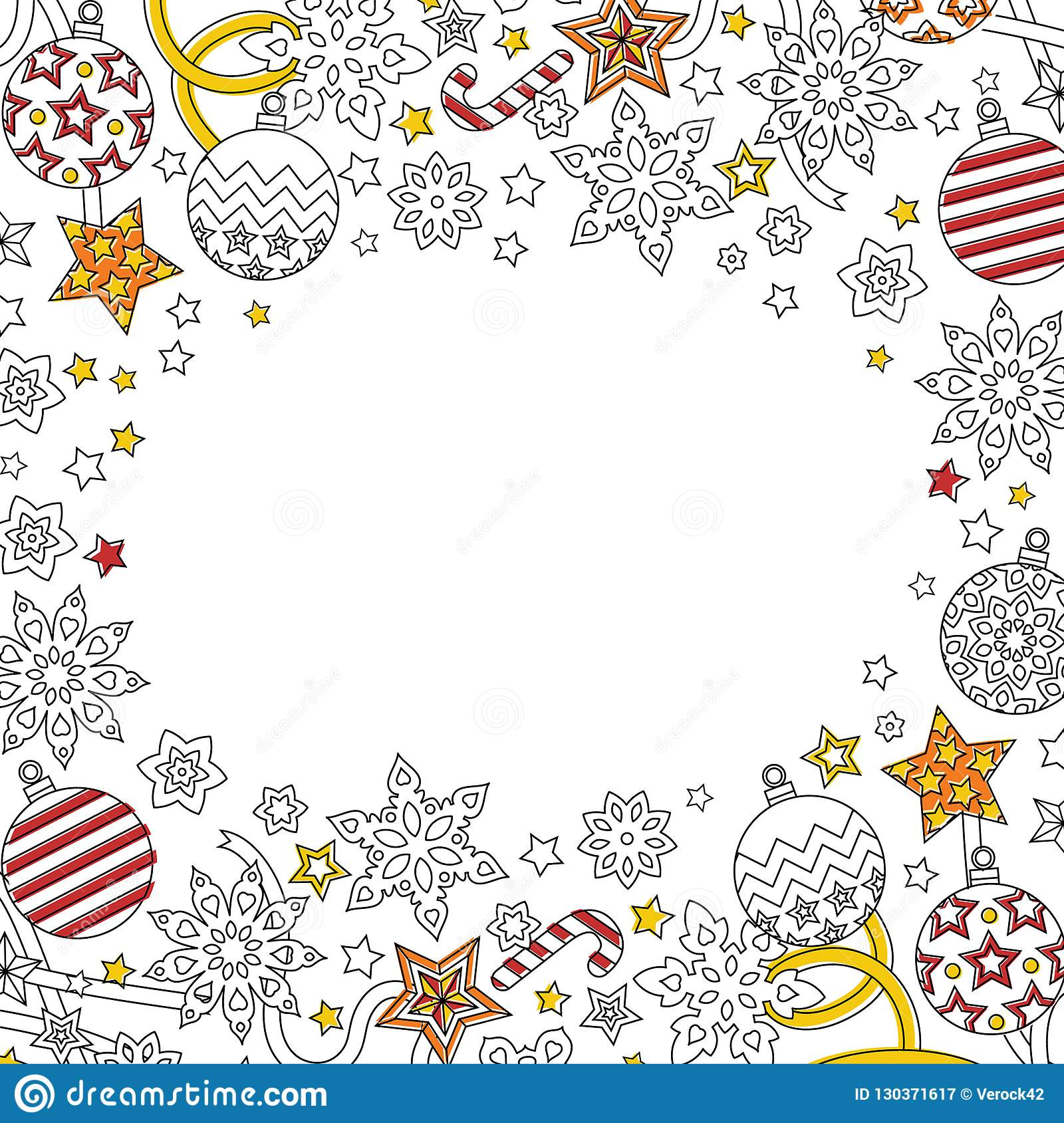 new year background with doodle snowflakes fir tree balls ribbon decorative border