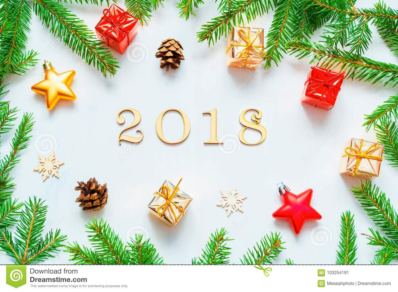 New Year 2018 Background With 2018 Figures,Christmas Toys, Fir Branches-New Year 2018 ...