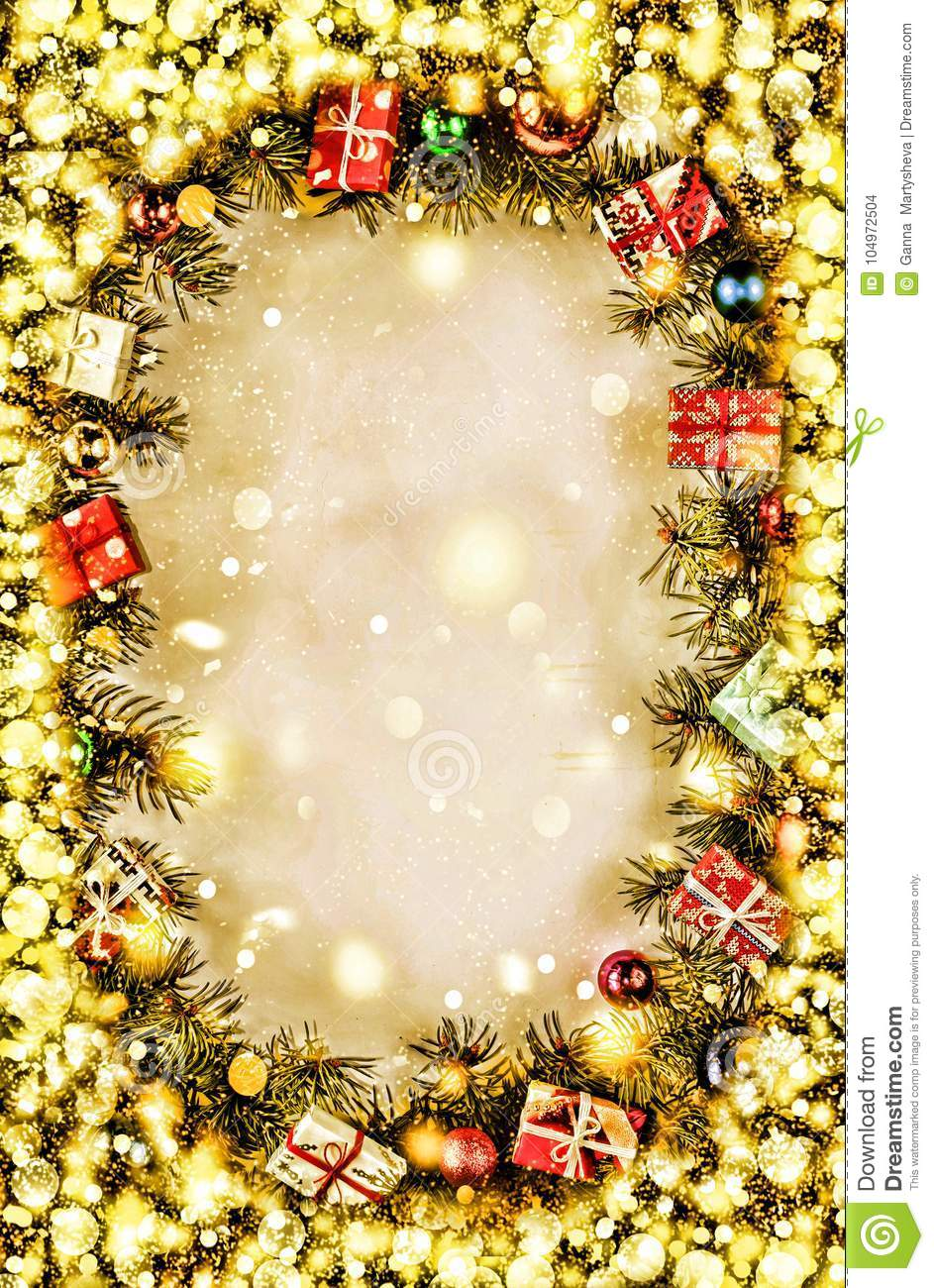 New Year. Background, frame of Christmas tree branches and Christmas decorations. Golden snow. Free space for text.