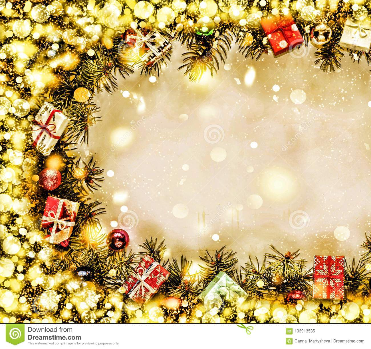 new year background frame of christmas tree branches and christmas decorations golden snow