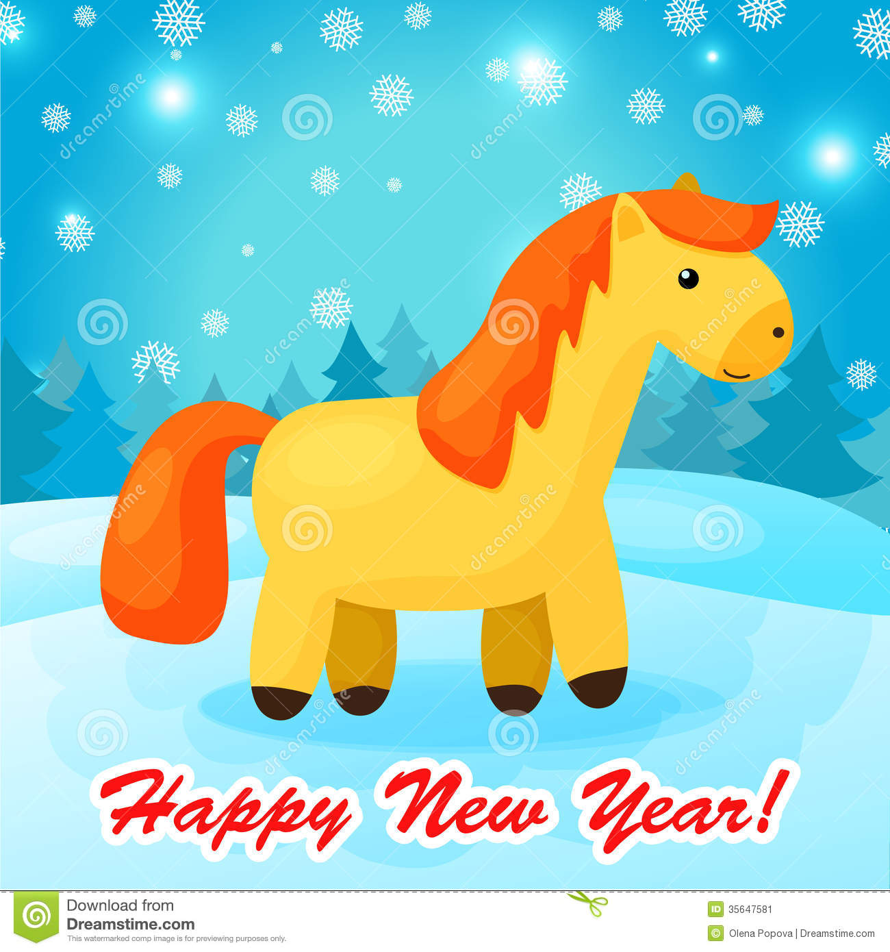 new year background with funny cartoon horse