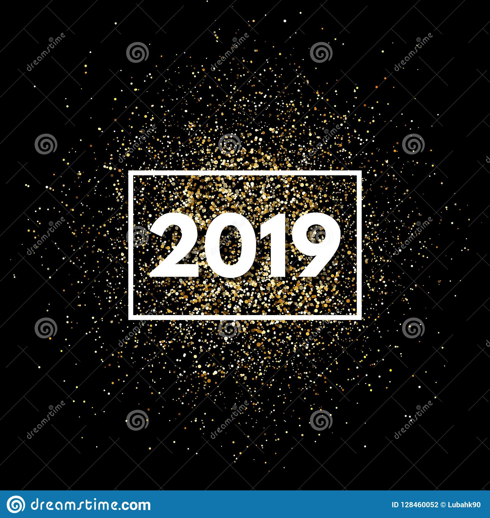 2019 new year background with gold glitter gold glitter particles splatter bright festive premium