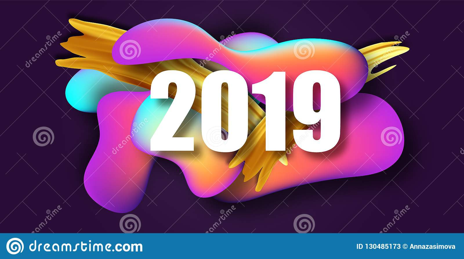 2019 new year on the background of a liquid color - New year 2019 color ...