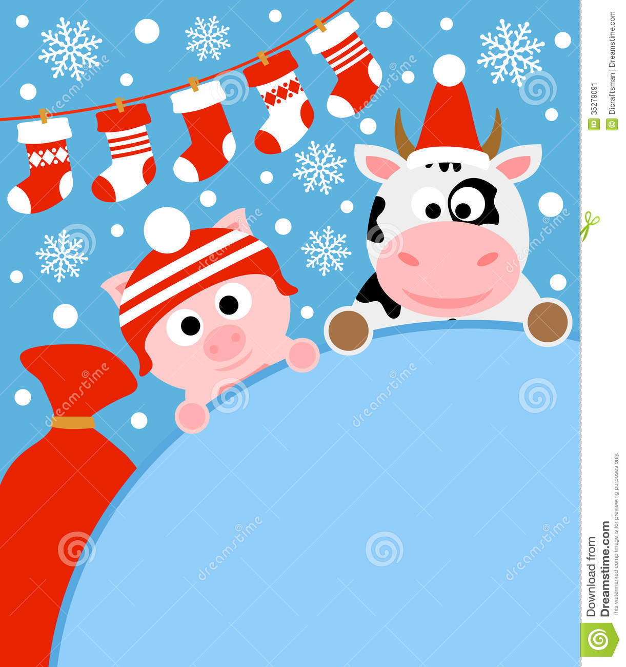 new year background with pig and cow