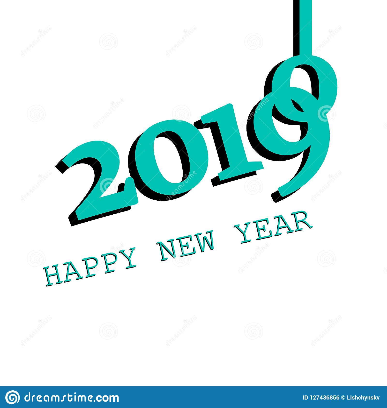 2019 new year banner background vector icon on white background