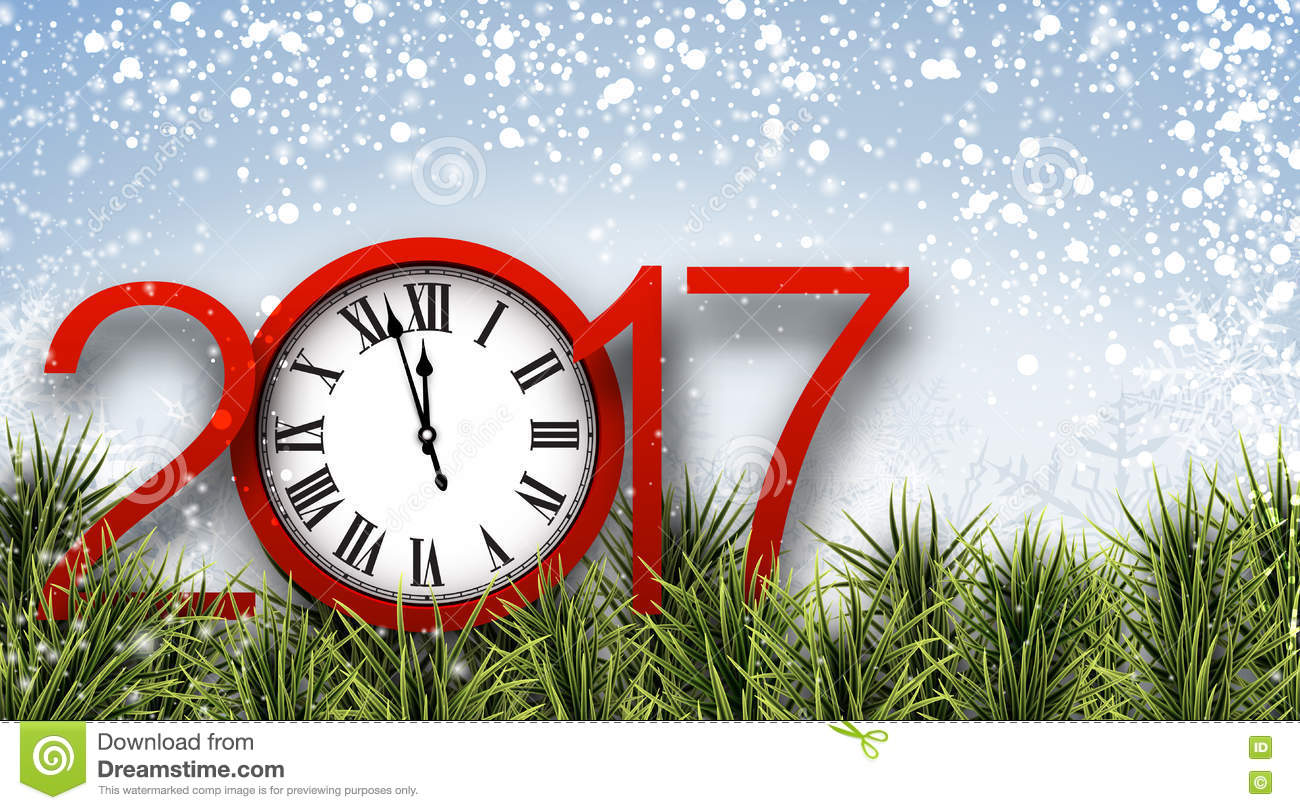 2017 new year banner with clock