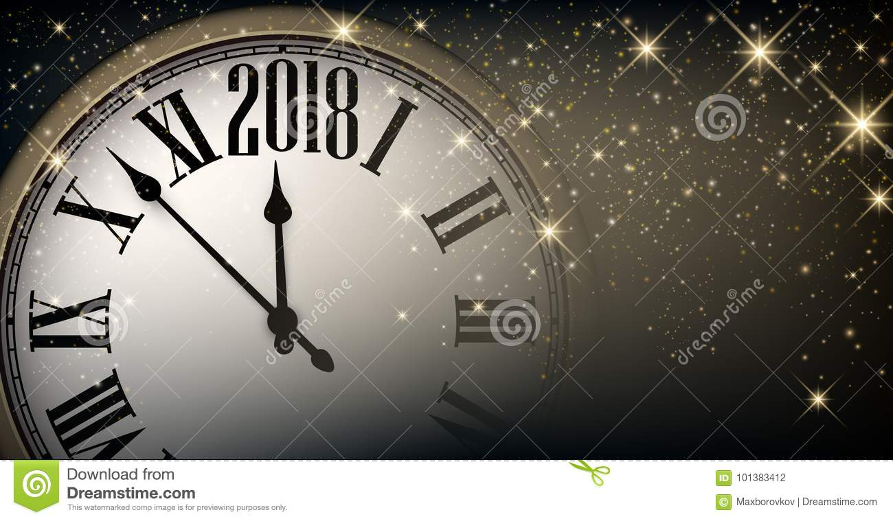 2018 new year banner with clock