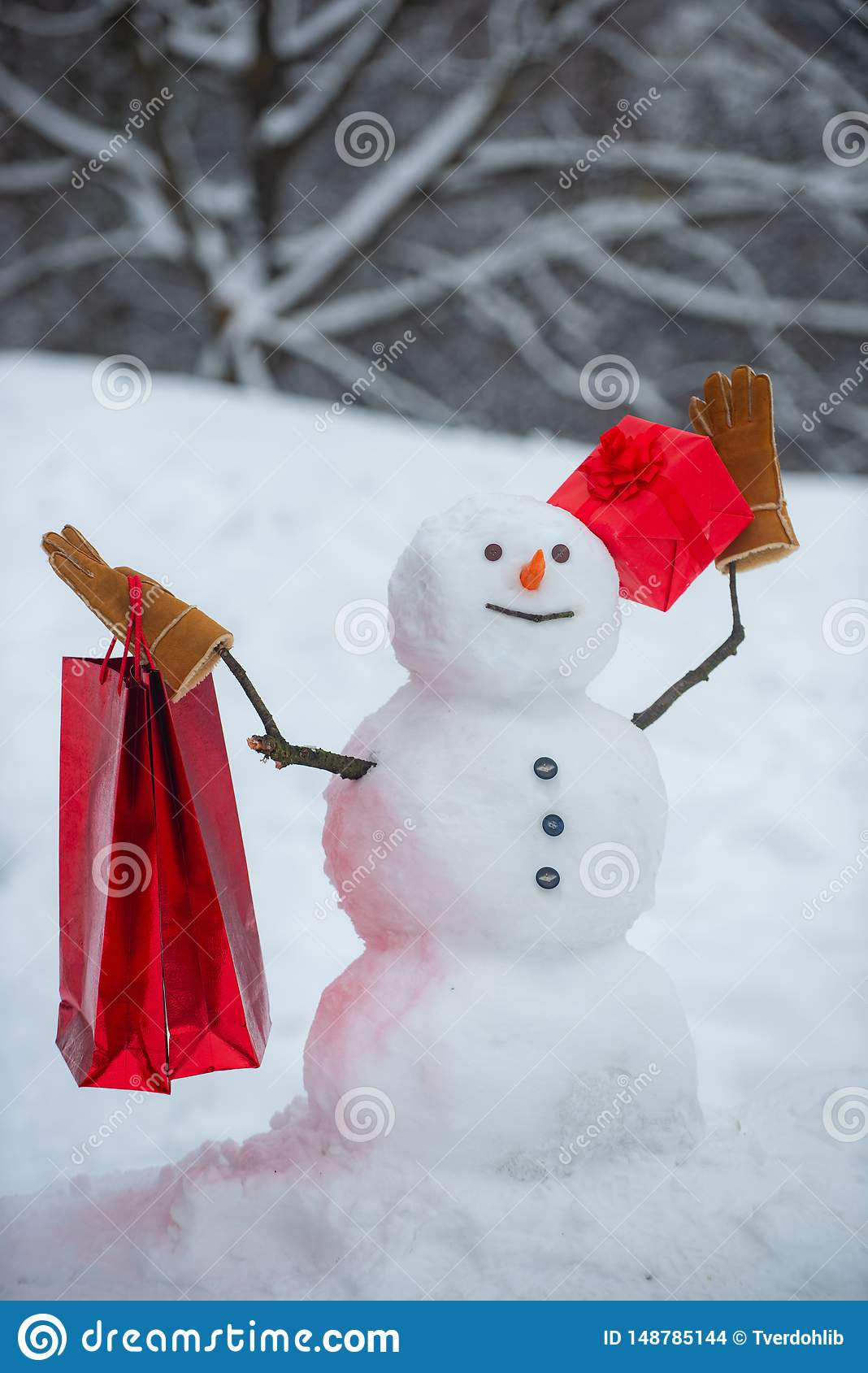 New Year Banner Delivery Gifts Cute Snowmen With Gift