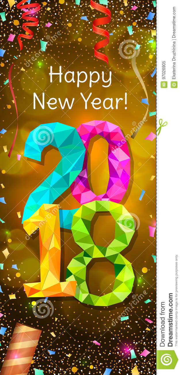 happy new year 2018 greeting vertical banner festive illustration with colorful confetti party popper and sparkles vector