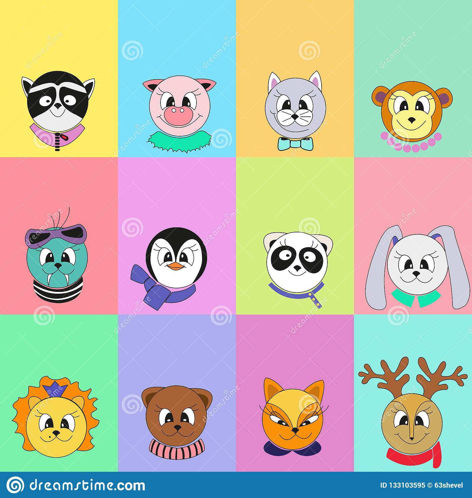 Set of cute cartoon animals. Vector color illustration of a blank for the calendar.