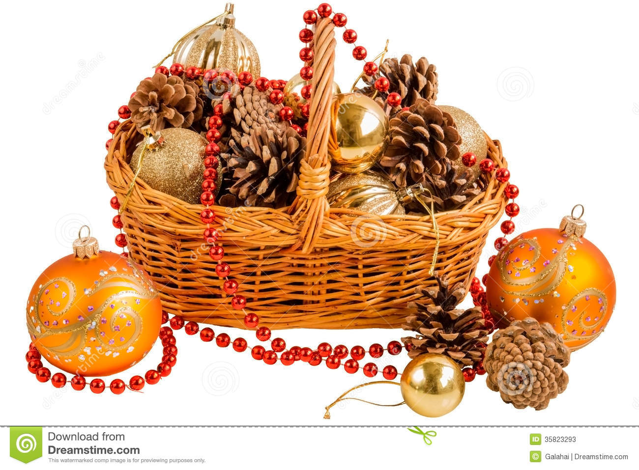 new year basket with pine cones and christmas decorations