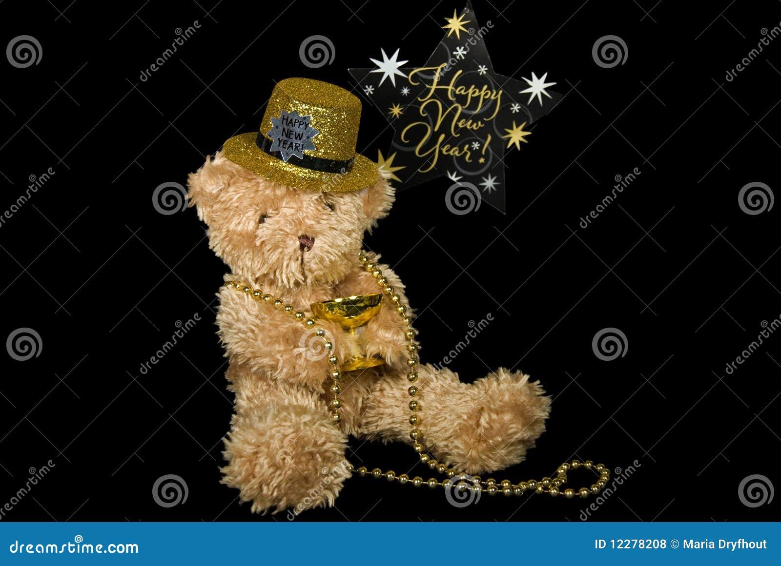 Teddy bear celebrating the New Year.
