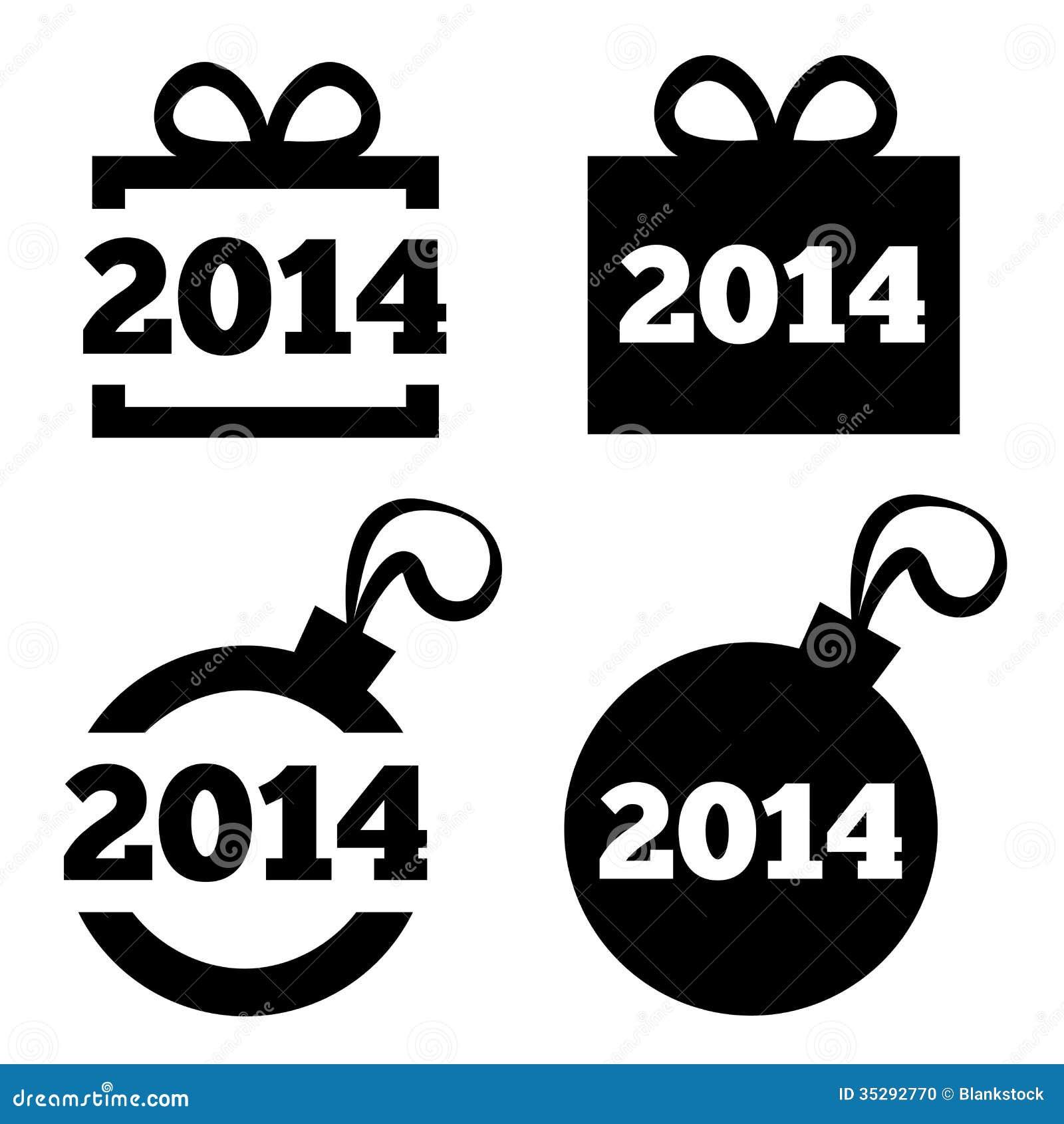 New Year 2014 Black Icons. Christmas Gift, Ball. Stock Illustration ...