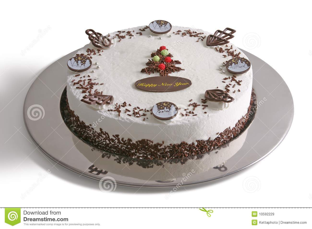 New Year Cake stock image. Image of chocolate, cream ...
