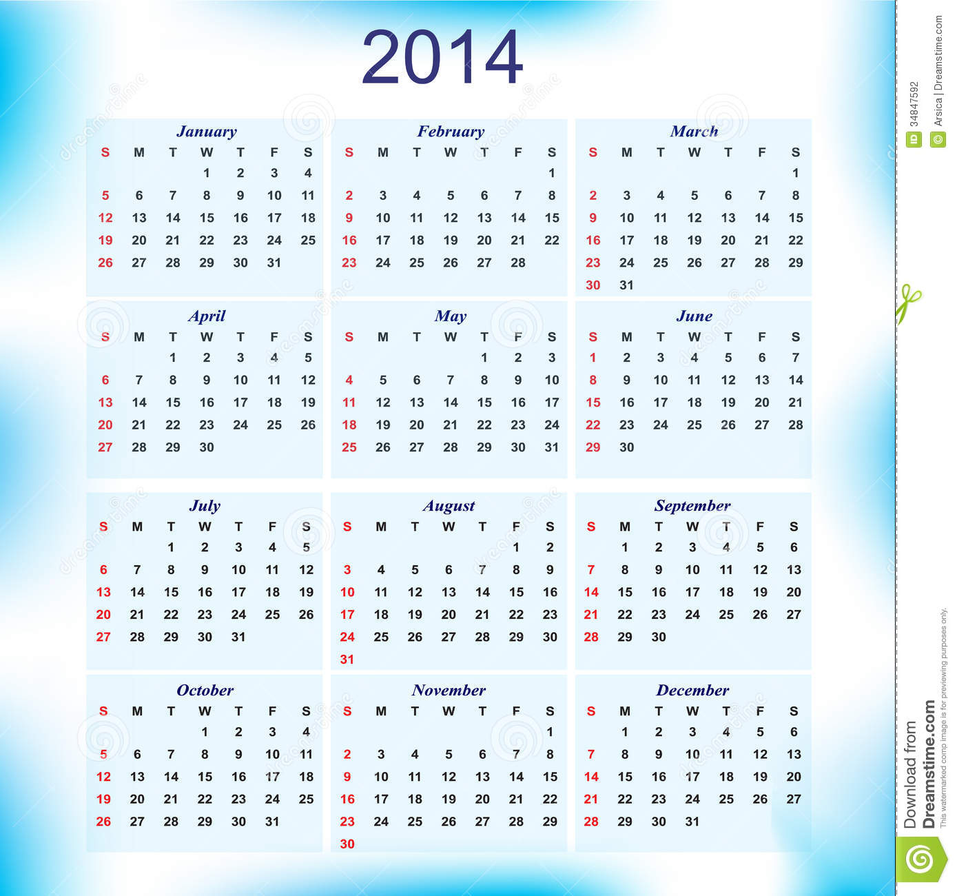 New Year calendar for all months of the year 2014.