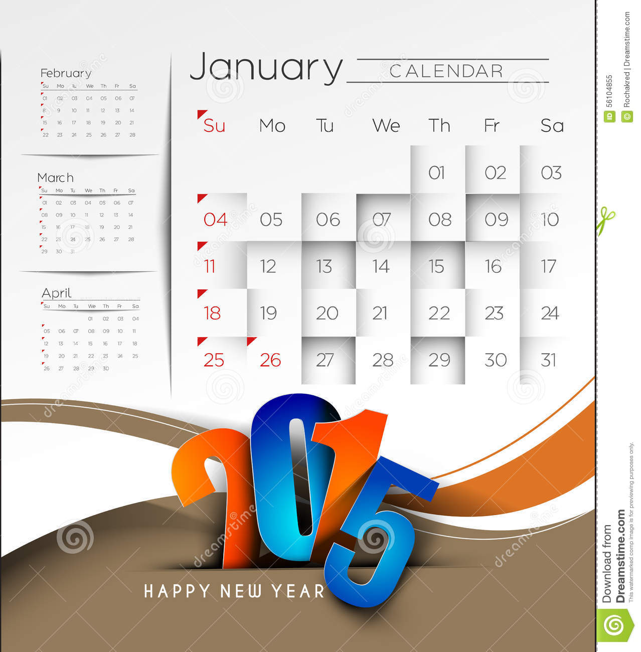 New Year Calendar 2015 Background