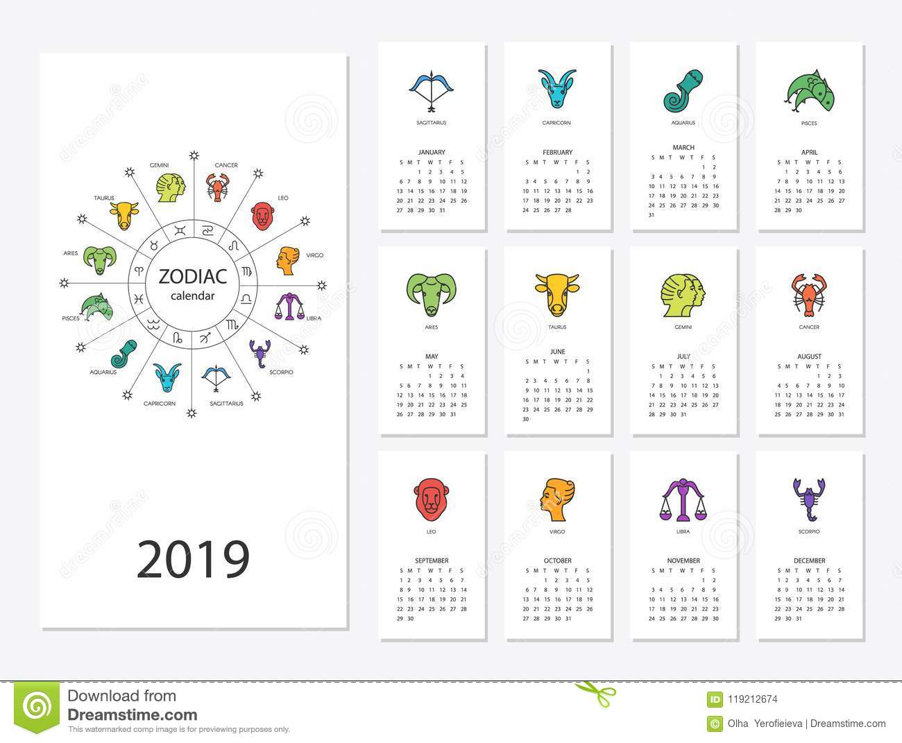 2019 new year calendar stock vector  Illustration of cards
