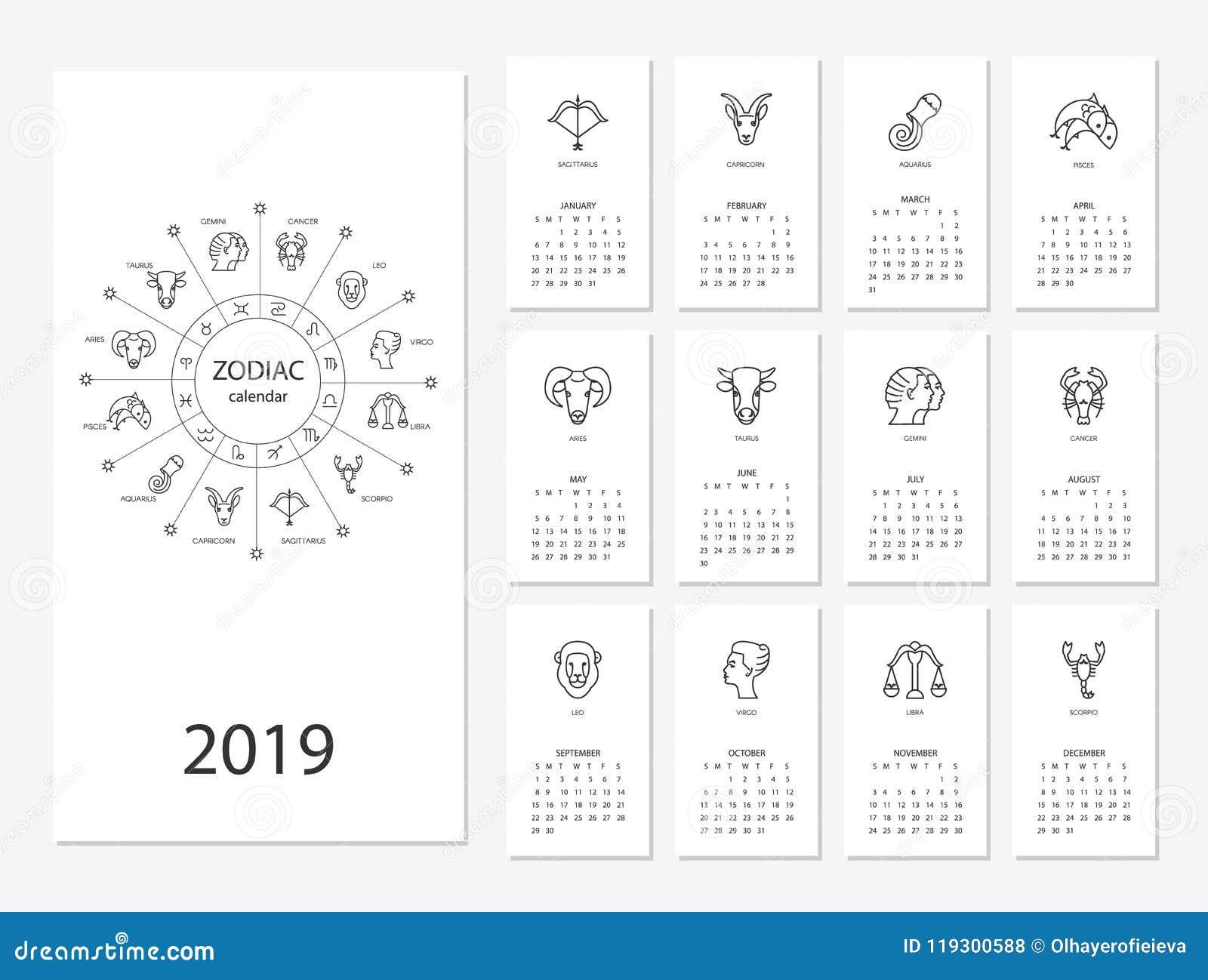 Horoscope Calendar 2019 2019 new year calendar stock vector. Illustration of template