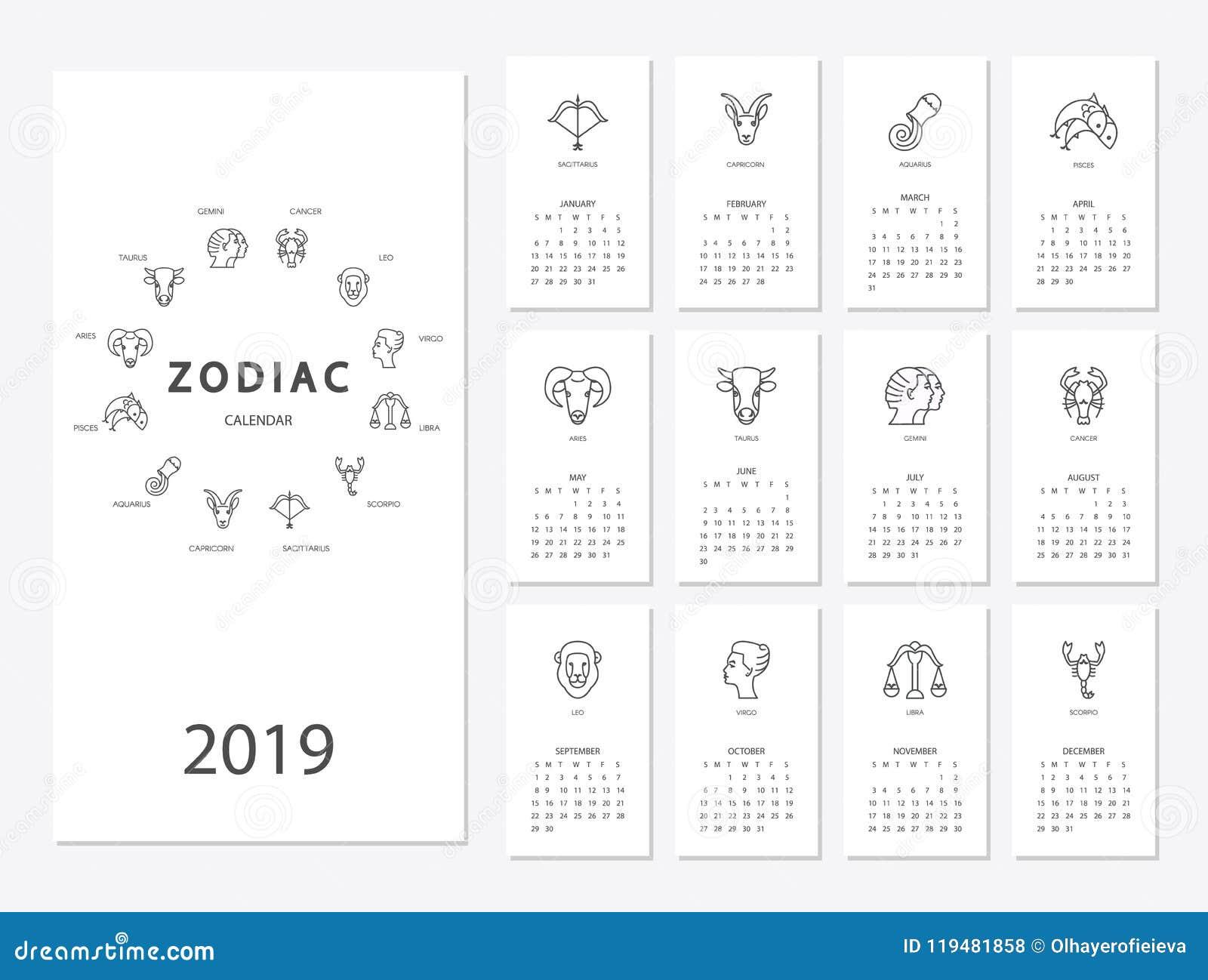 2019 Zodiac Calendar 2019 new year calendar stock vector. Illustration of month   119481858