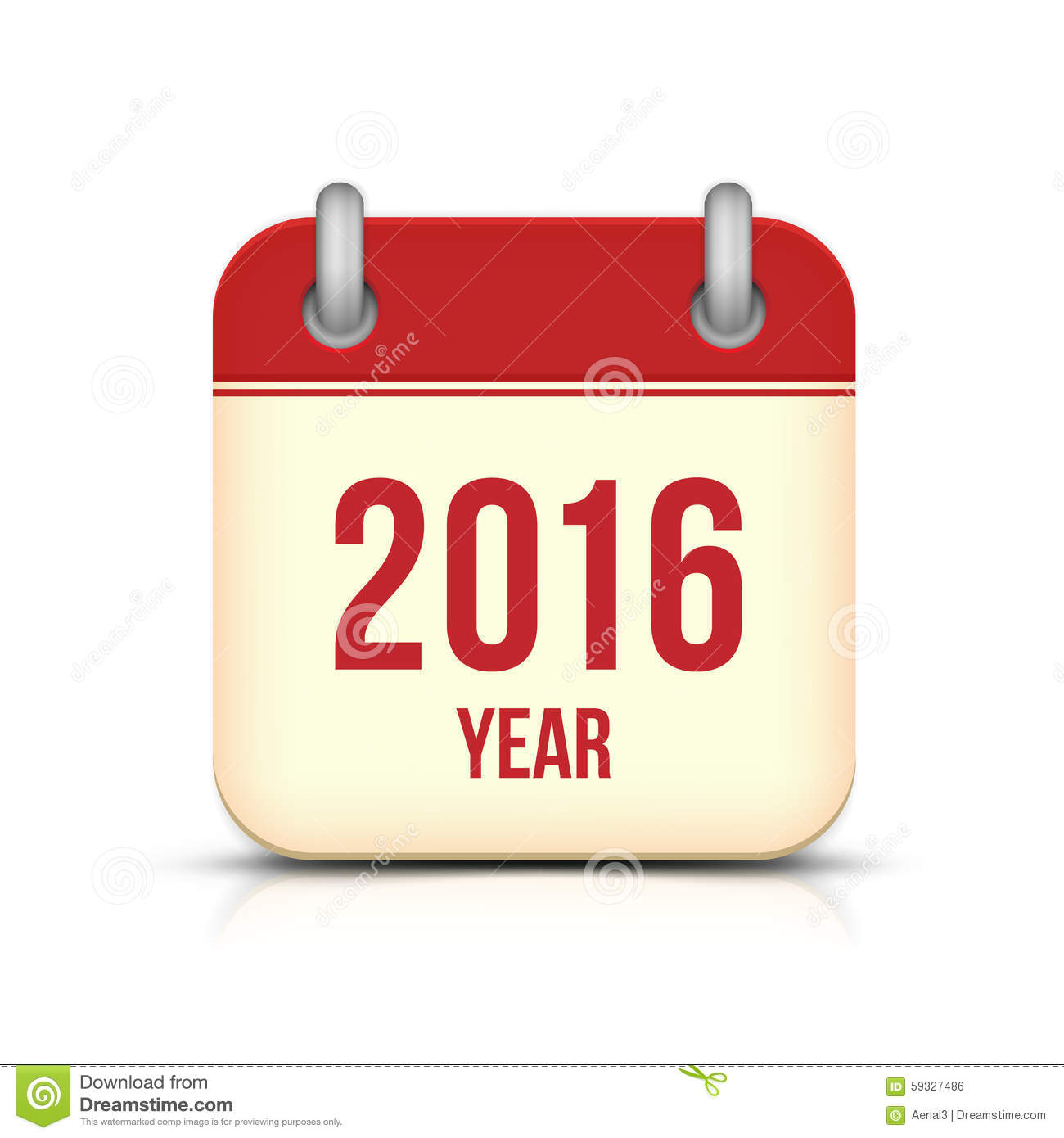 new year 2016. Isolated vector calendar icon with reflection. Chinese ...