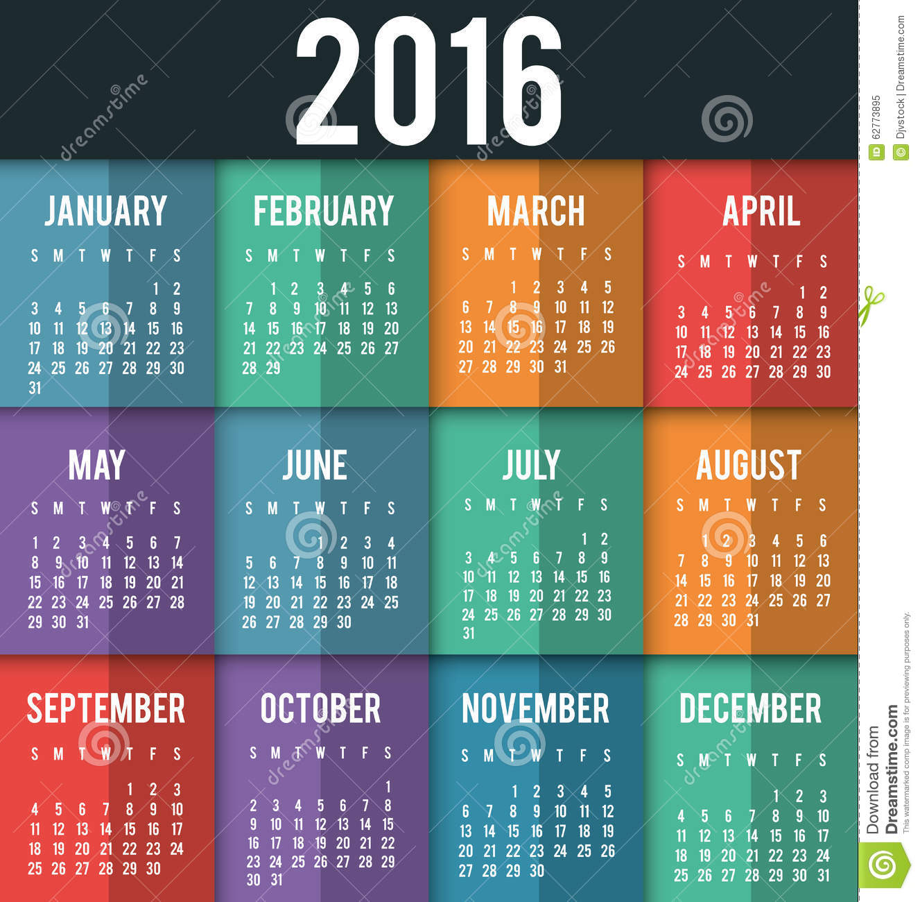 New Year Calendar Schedule Stock Vector Image 62773895