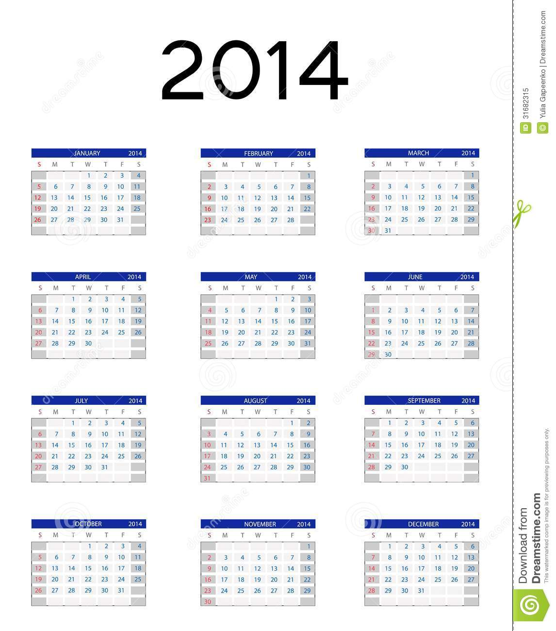 2014 New Year Calendar Vector Illustration Royalty Free Stock ...