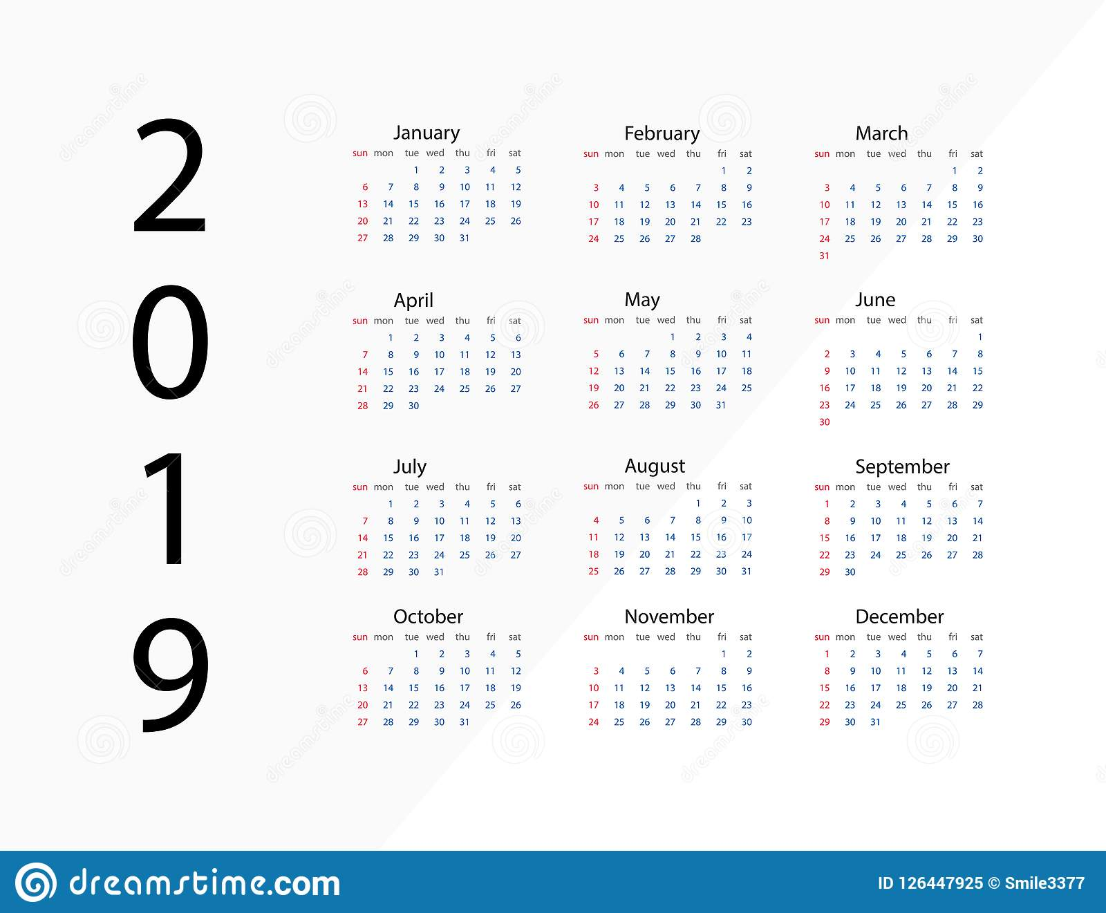 2019 New Year Calendar On 2019 Year Template Calendar 2019 Year