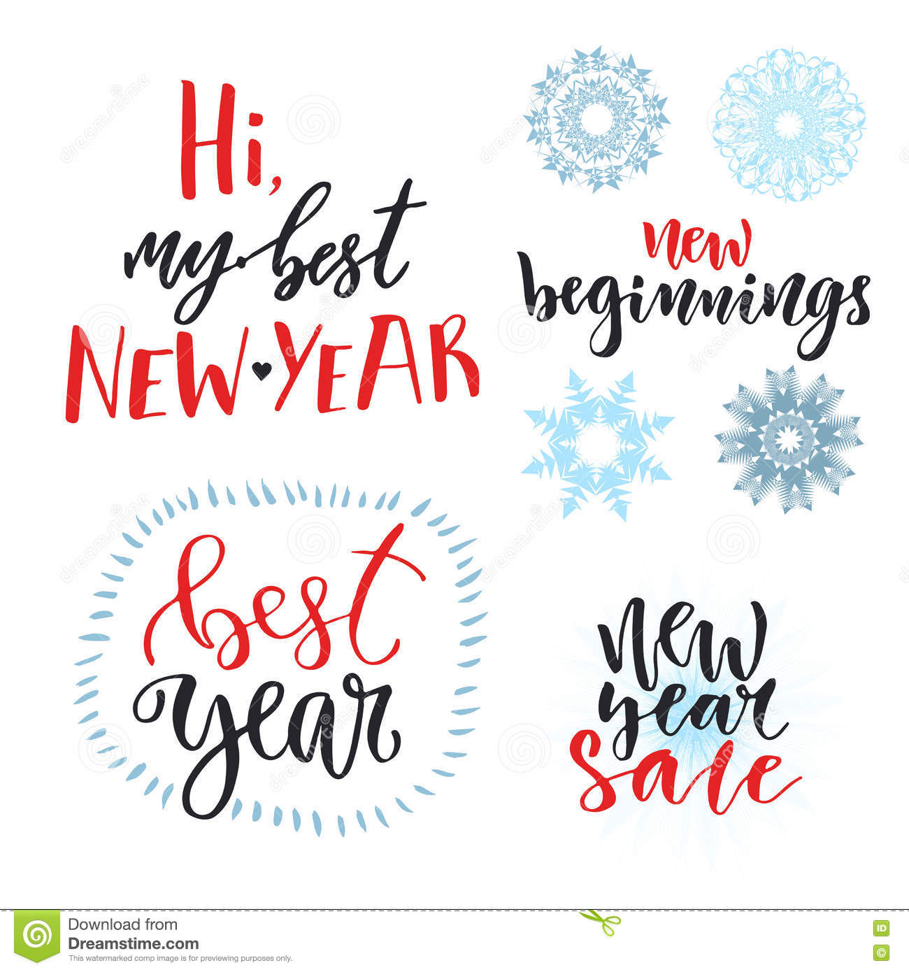 New Year Calligraphic Lettering Set. Vector Design For Greeting ...