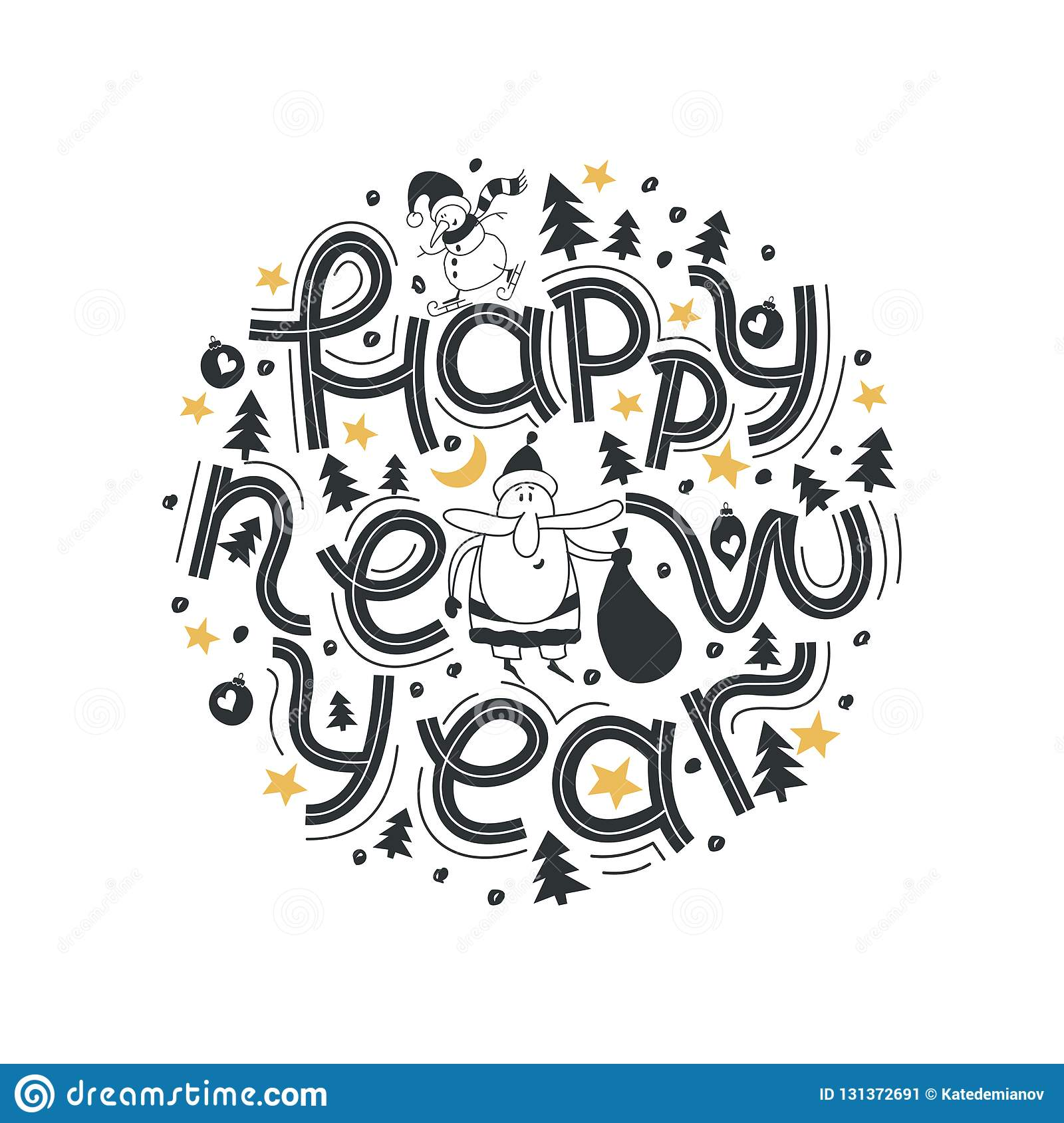 Happy New Year. Lettering phrase Merry And Bright. Modern lettering for cards, posters, t-shirts, etc. with hand drawn elements.