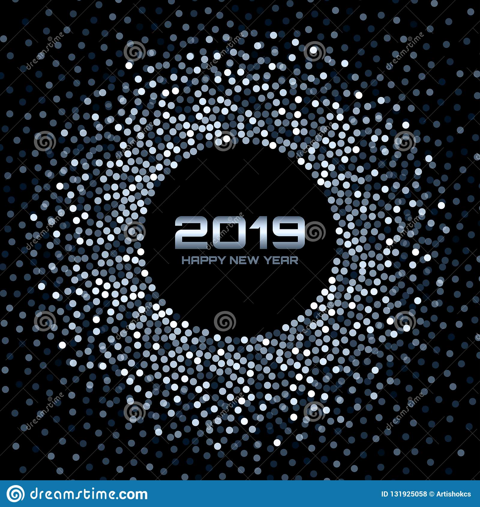 new year 2019 card background blue white glitter paper confetti